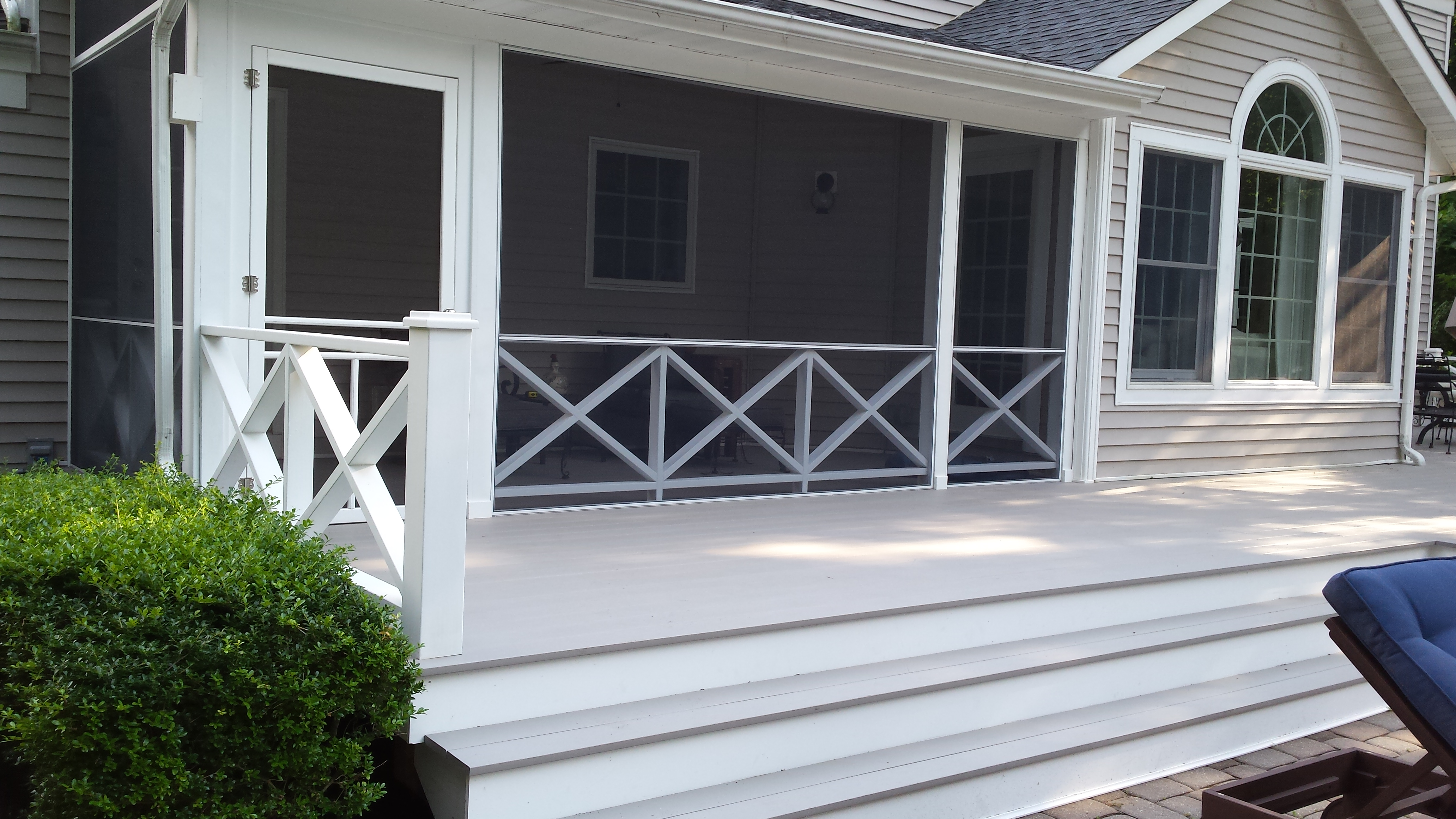 Deck with Wide Steps and Railing
