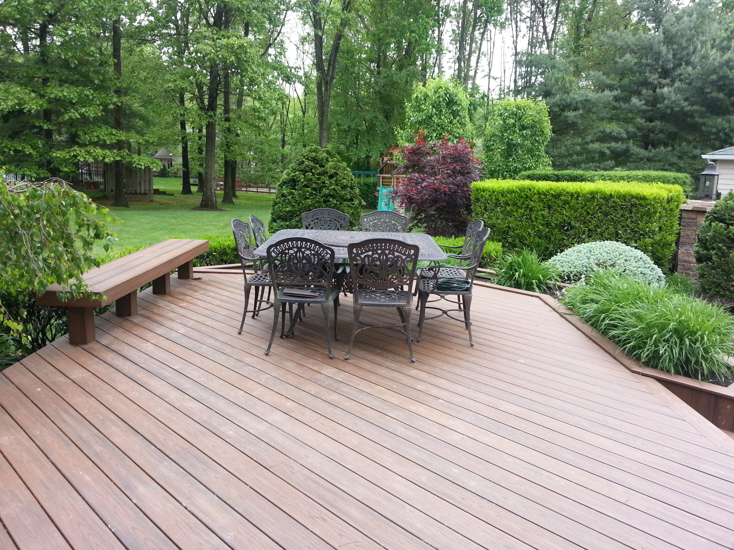 Deck, bench and planters, all composite