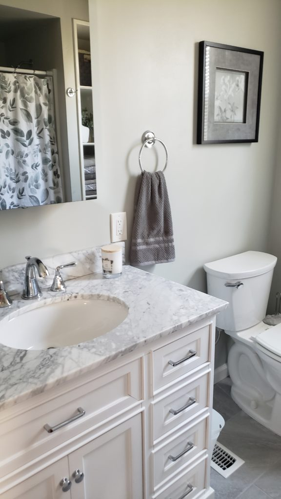 Vanity with Carrera marble