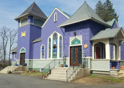 house with stained glass windows