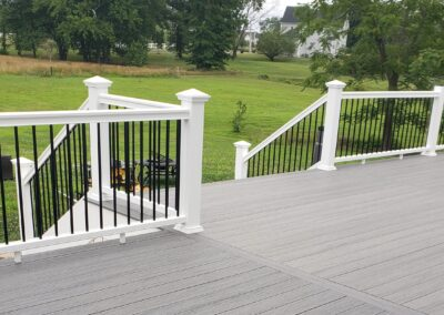 Timber Tech Storm Gray Deck with White Rails and Black Aluminum Balusters